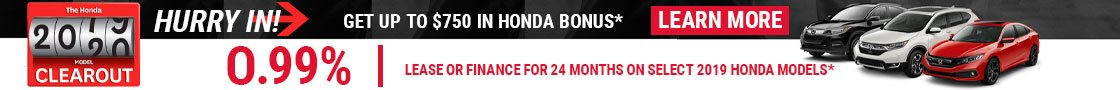 Lease a select 2019 Honda Models from 0.99% for 24 months!